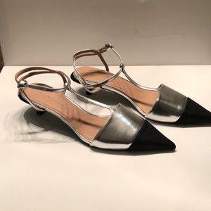 Zara Shoes - Zara kitten heel silver & black cap toe shoes
